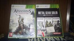Xbox 360 Games Assasins Creed III and Metal Gear Solid HD Collection