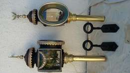 A pair of vintage carriage lamps