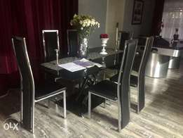 Leather & glass dining set
