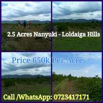 Nanyuki - Loldaiga Umande 2.5 Acres Price 650k Per Acre