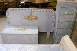 Kiddies head board, side drawers, and toy box