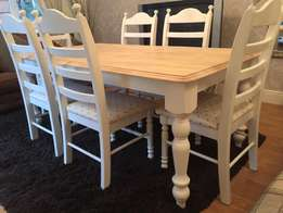 Fabulous 6ft Shabby Chic Oak Farmhouse Table and 6 Chairs