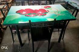 New in stock-4 Seater Dining Tables -Painted Glass Top