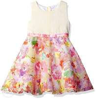 5Youngland Girls' Sleeveless Floral Dress with Waist Ribbon