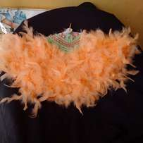 "Brides n Queens ""Flattering"" Peach/Mint Green Feathers Bridal Hand-fan"