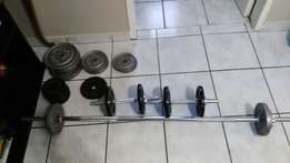 Dumbell, weights and bar
