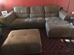 Chestnut Suede L-shaped Couch for Sale