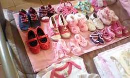 Brand new baby items for a girl.