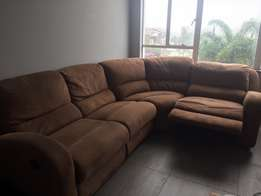 L-Shaped Brown Suede Couch