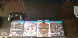 PS4 few weeks used 4 games one pad, vertical stand accessories and box