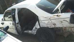 White Mercedes 1997 model involve in car accident