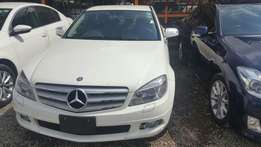 Mercedes C200, year 2009, white colour, black interior