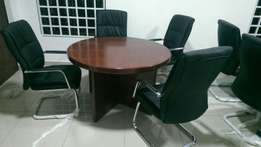 Mini round executive conference table for 4 setter