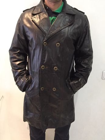 d1420b24 Мужской кожаный плащ, кожаное мужское пальто, плащ из кожи Днепр -  изображение 1