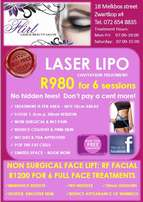 6 x Laser Lipo sessions for only R980 - No hidden fees or extra costs