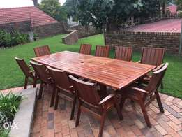 10 seat adjustable solid wood garden table and chair set