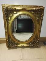 Beautiful beveled gold framed mirrors x3, priced per each.