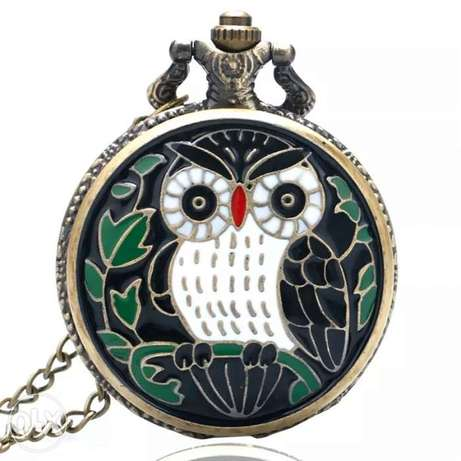 Fashion Cool Owl Quartz Pocket Watch With Necklace Chain Women Men Gif