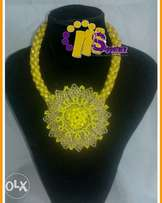 Yellow beaded jewelry