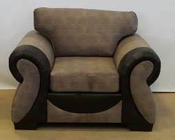 Gorgeous Arm Chair in grey fabric and brown PU arms.