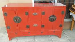 Vintage Chinese cabinet use as a tv stand or vanity or server