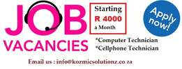 Full time Computer technician and cellphone technician required.