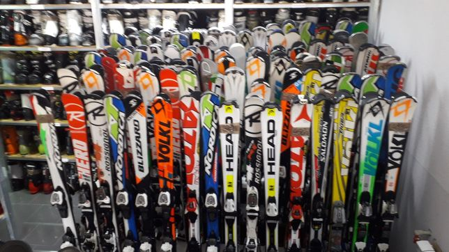 Narty Buty Kijki Kask Gogle Komplety Sprzęt narciarski Duży