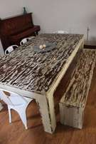 Rustic Solid Wood Patio Table with Matching Bench