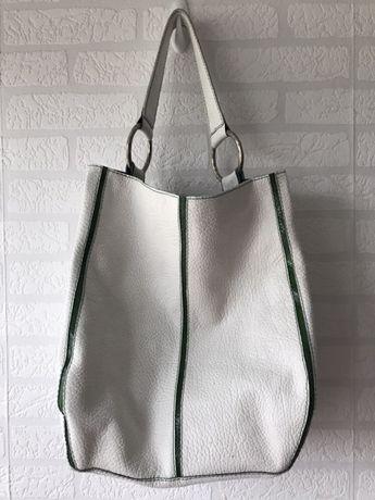 b0c9d7e154c30 Duży skórzany worek - Warszawa - Zielono biały worek ze skóry naturalnej.  Torba wykonana własnoręcznie