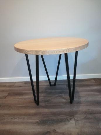 Stół Stolik Drewniany Okrągły Na Nogach Z Metalu Metalowej