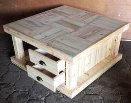 Coffee table Farmhouse series 1100 with 4 drawers Raw