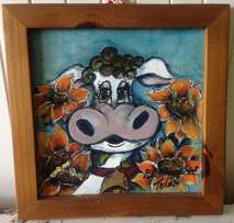 Framed Cow Painting