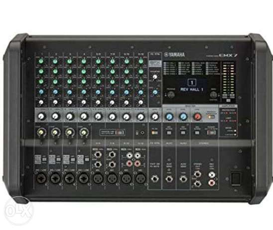 Yamaha EMX7 Mixer + S115V Speakers + Proel Stands all brand new in box