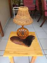 Wooden Wagon Wheel Table / Bar Lamp