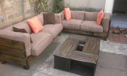 Wooden rustic frame sofa n table