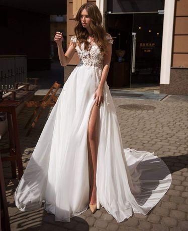 305b8d451f NOWA suknia ślubna koronka kwiaty 3D gołe plecy rozporek TANIO Głogów -  image 3