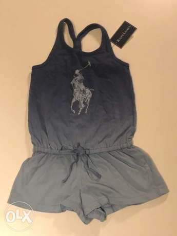 Blue Polo Player Romper for 2 year old girls. size 2T
