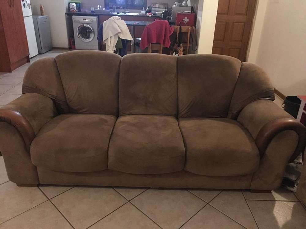 Brown suede couch sofa solid