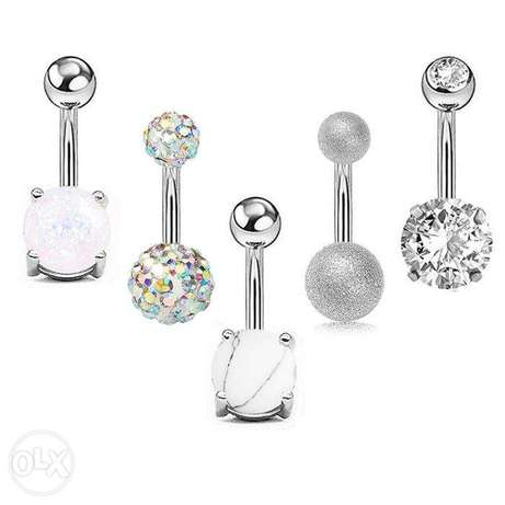 5 pcs/set Belly Navel Piercing Body Jewelry SILVER & rose gold