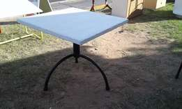 Square White Top Cafe Table