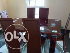 X-K Durable Six Sitter Glass Dining Table &Chairs