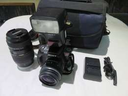 Sony a380 SLR Twin lens and Sony flash