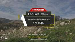 WONDERFUL Land in Fakra with AMAZING Viewأرض في فقرا ٥٩٠ م٢