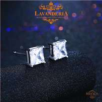 simple square zirconia sterling silver stud