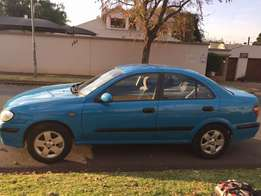 2003 Candy Blue Nissan Almera, 1.6L Luxury Sedan, with only 285 001KM