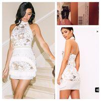 6d601da6a3 Zdobiona sukienka mini PLT guess xs 34 seksowna na szyje frędzle 299 z