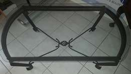 Black Iron Coffee Table with Glass Top