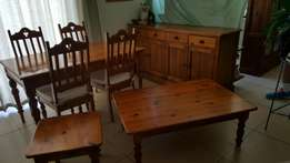 Origan pine table 4 chairs buffet and coffee tables