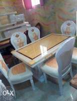 Quality royal dining by six with six chairs cream