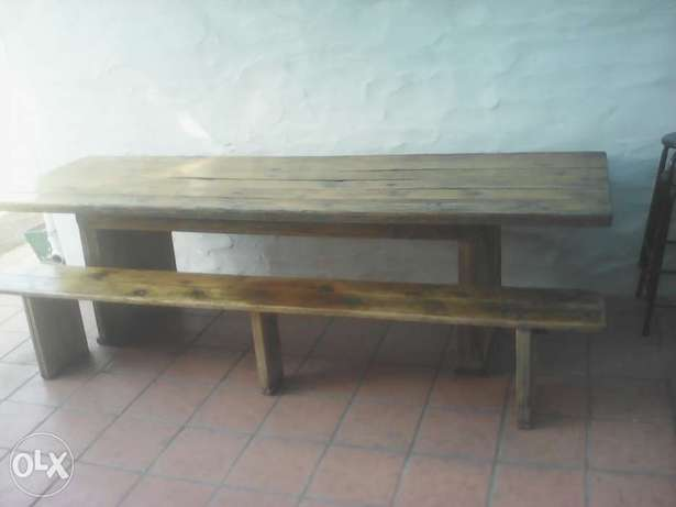 Large pine table and bench Edgemead - image 1